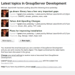 The daily digest of topics for the GroupServer Development group