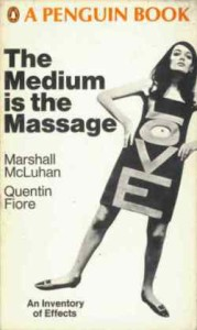 The cover of the first edition of The Medium is the Massage by t Marshall McLuhan and Quentin Fiore. Snipping is a way that messages are massaged for the medum of group discussion.